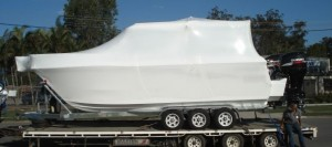 boat wrapped in shrink wrap