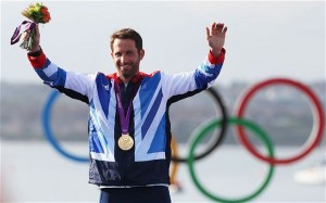 Sir Ben winning a gold medal