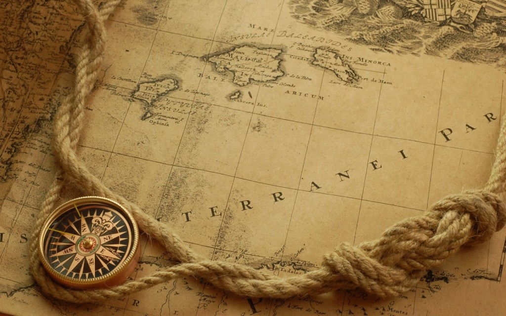 image of an old map of the oceans