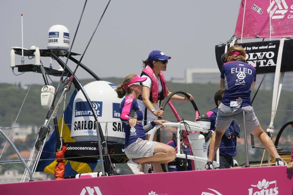 June 05, 2015. Crown Princess Victoria of Sweden onboard Team SCA for ProAm 2 in Lisbon.