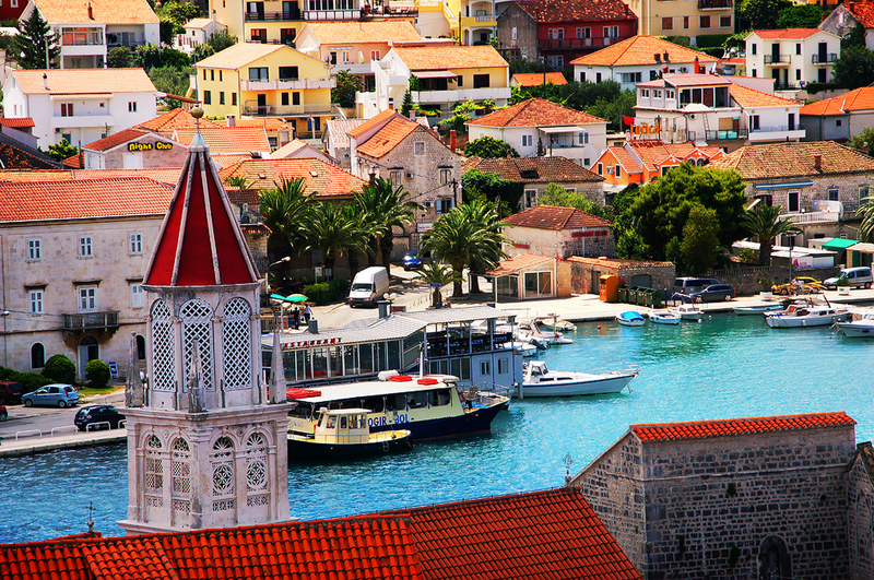 Sailing boats in a Croatia village